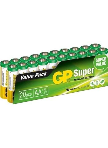 GP Gp Süper Alkalin Aa Boy Kalem Pil 20'Li Paket R6 Lr6 Renksiz
